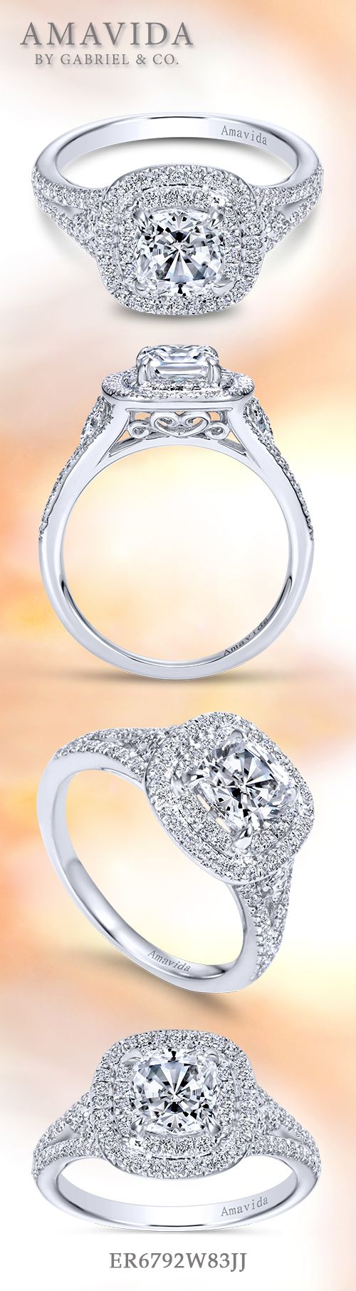 Gabriel & Co. - Voted #1 Most Preferred Bridal Brand.   Shimmering pave diamonds adorn the 18k White Gold Cushion Cut Double Halo  Engagement Ring.