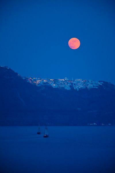 VISIT GREECE  Moonrise over the island of #Santorini #Greece #Cyclades