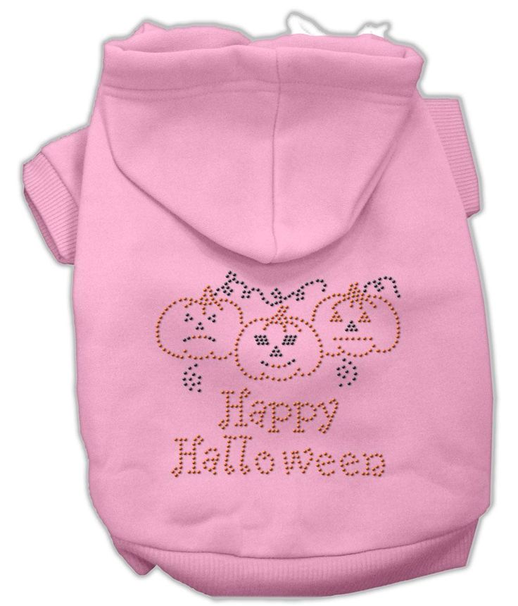 Happy Halloween Rhinestone Hoodies Pink XL (16)  A poly/cotton sleeved #hoodie for cold weather days, double stitched in all the right places for comfort and durability!