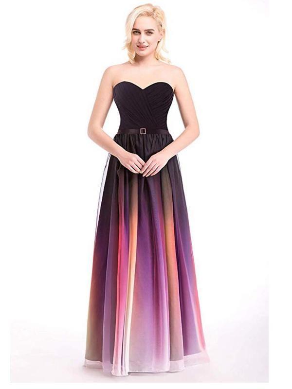 f8c5fda9e889 Sweetheart Chiffon Ombre Cheap Long Evening Prom Dresses, Custom Sweet16  Dresses, 18404