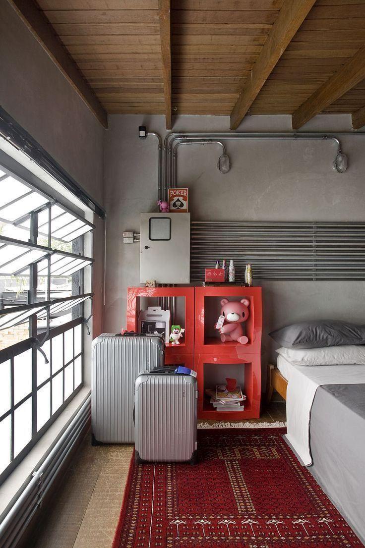 Quarto Vintage E Retrô: 60+ Dicas, Decoração E Fotos! Decorating Studio  ApartmentsIndustrial Bedroom DesignApartment ... Part 84