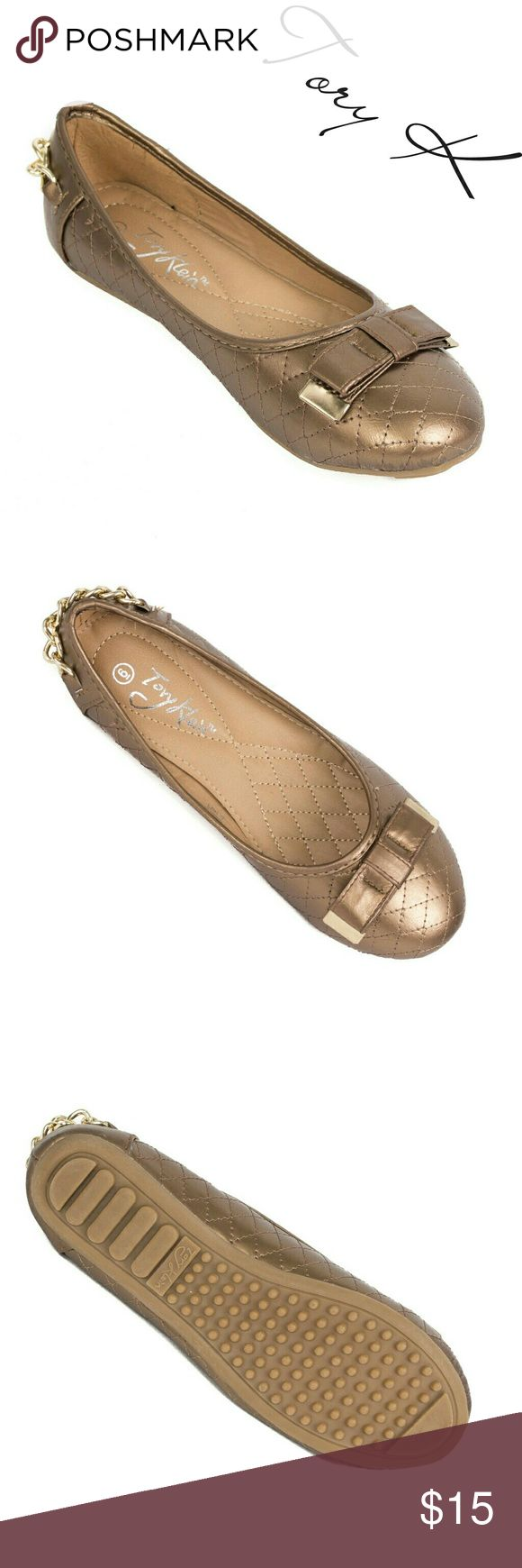 """Women Ballerina Flats with Bow, b-1623, Antique Brand new Tory Klein woman ballerina flats shoes in PU leather with a metal tipped bow and a chain around the back. Soft quilted sole. Bubbled bottom sole for extra traction. A true statement in ladies fashion! Measurements: larger sizes run small. Size 8 measures 9.5 inches, sz 8.5 - 9 3/4"""", sz 9 - 10"""", sz 10 - 10.5"""", all half sizes are in 1/4 inch increments of each other. Tory K  Shoes Flats & Loafers"""