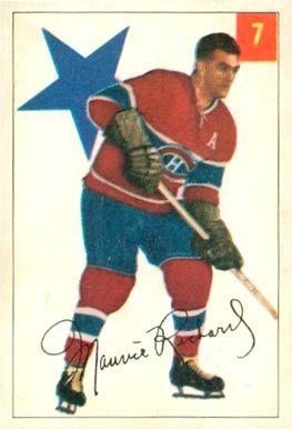 maurice richard hockey cards | 1954 Parkhurst Maurice Richard #7 Hockey Card