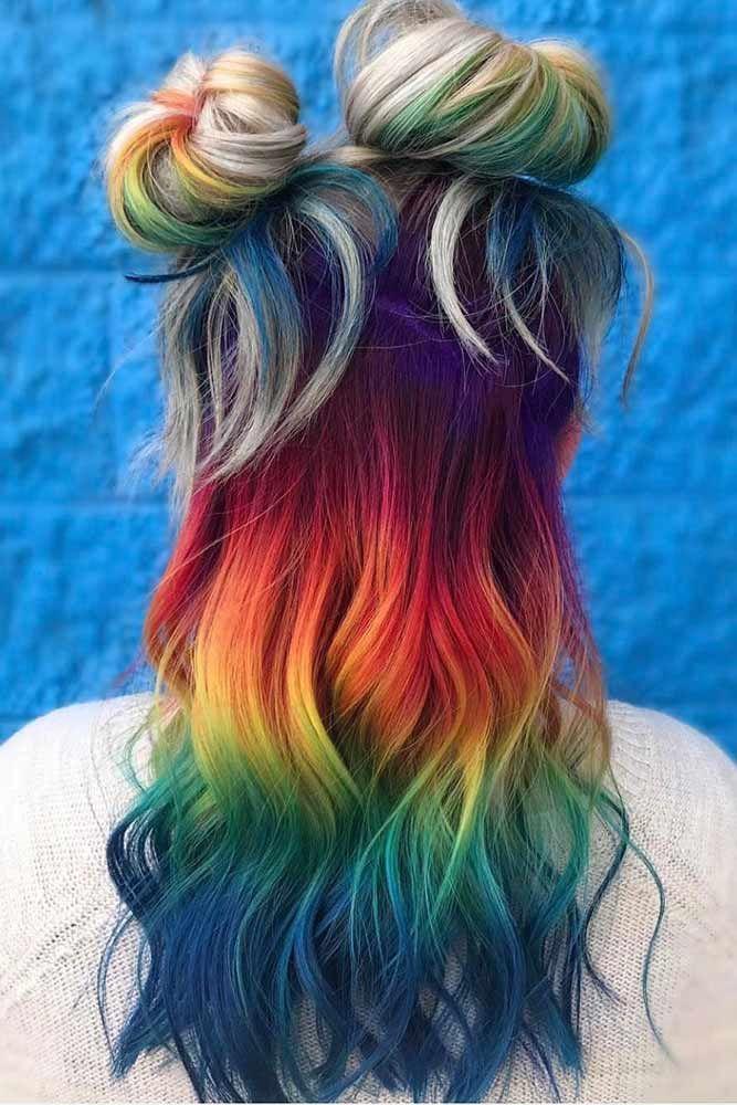 15 Bold And Trendy Mermaid Hair Ideas Loveharstyles Com Hair Styles Rainbow Hair Color Mermaid Hair