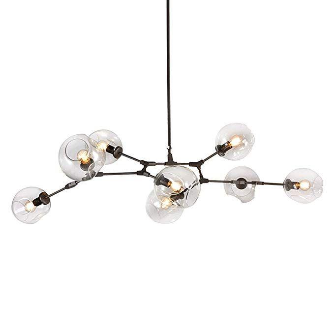 Luolax Modern Black Pendant Light Glass Chandelier With 7 Lights Fixture Hanging Flush Mou Modern Black Pendant Lights Modern Pendant Light Black Pendant Light