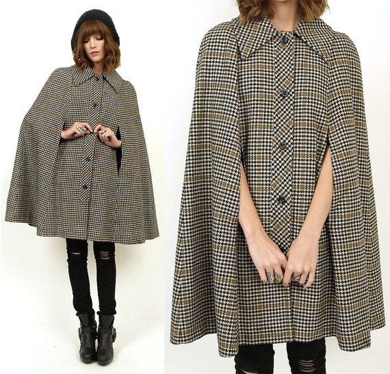 70's Pendleton PLAID Wool TWEED Cape Coat by MamaStoneVintage, $98.00: