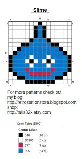 Pixel Stitch: Slime from Dragon Quest - Pattern for Bead Sprite, Needlepoint, and Cross Stitch