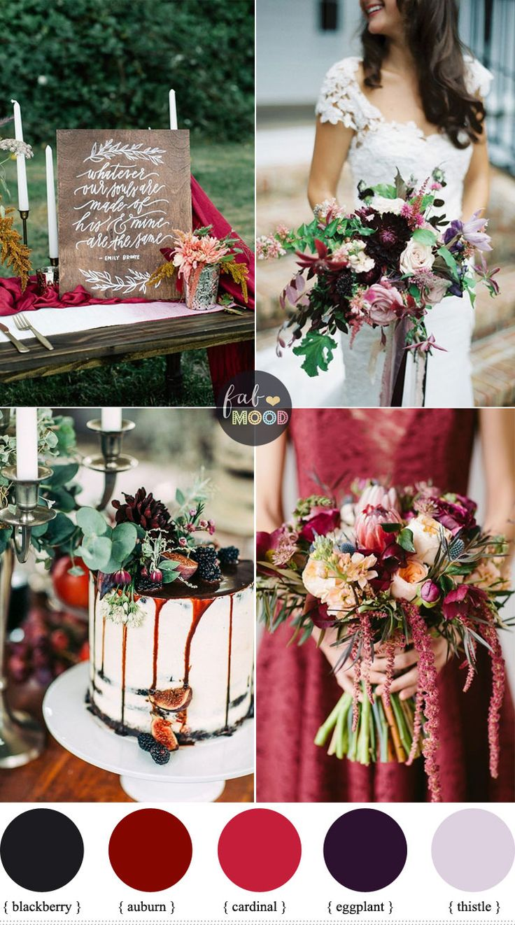 October Wedding Colours Auburn Blackberry Eggplant Cardinal Thistle