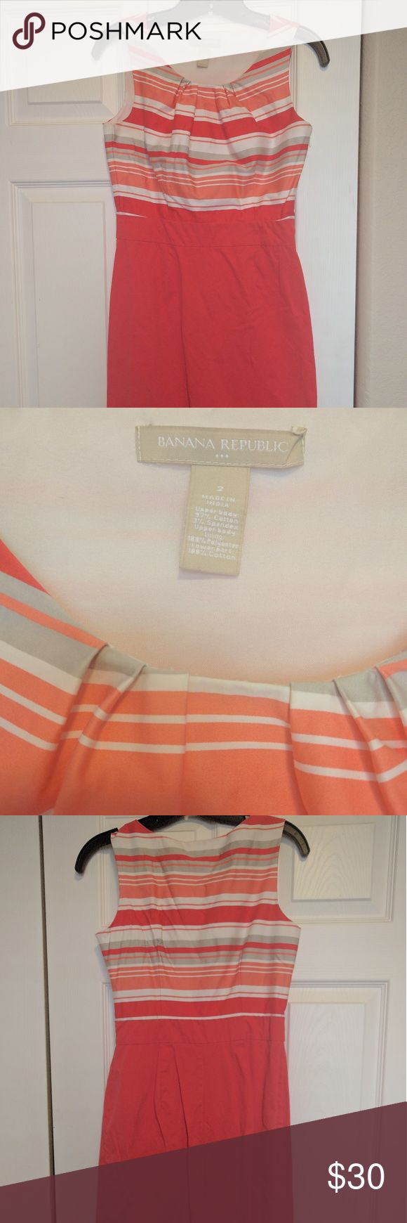 Banana Republic dress, coral colors! Beautiful dress, so well made. Banana Republic, size 2. Great for summer BBQs or other special occasions. Zipper on the side, hits above knee, flattering fit. Only worn a few times! Banana Republic Dresses