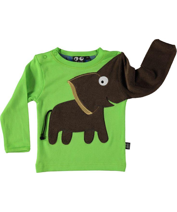 Ubang Babblechat flashy groene t-shirt met olifant. ubang-babblechat.nl.emilea.be