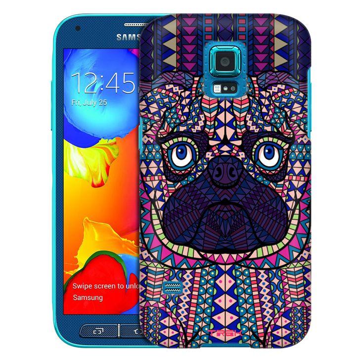 Samsung Galaxy S5 Sport Aztec Pug Head Blue Trans Case