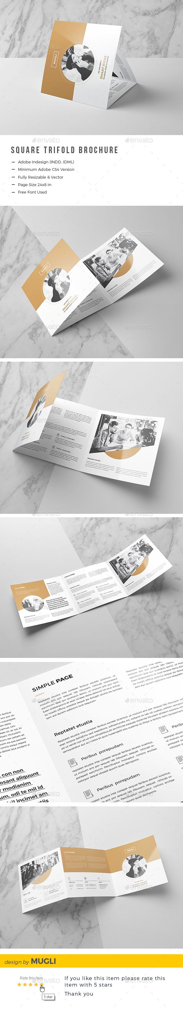 Square Trifold Brochure — InDesign INDD #square brochure #template • Download ➝ https://graphicriver.net/item/square-trifold-brochure/19768310?ref=pxcr