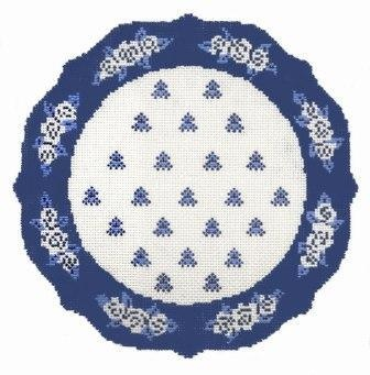 Blue White French Plate.  needlepoint.com