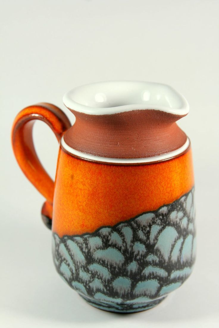 Orange Milk Jug Pottery Creamer Sugar And Cream Wheel Thrown And Hand Decorated Artistic Pottery Tea Sets Ceramic Pitcher Pottery Ceramic Pitcher Milk Jug