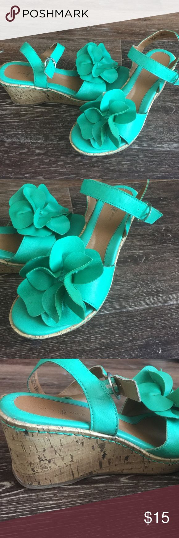 Jaclyn Smith wedges. Worn once. Teal green wedges. Flower detail on toe. Jaclyn Smith Shoes Wedges