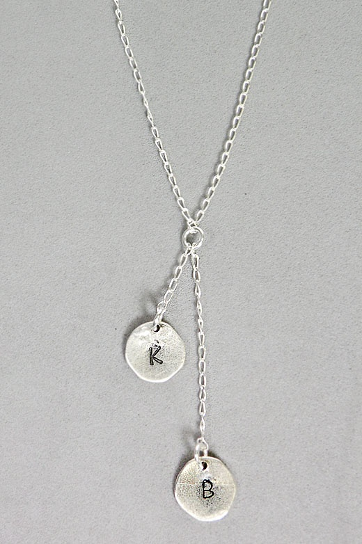 two initial necklace metal sting