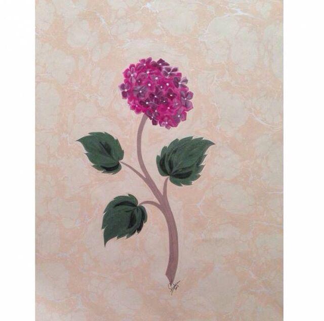 Ortanca çiçeği ebrusu Firdevs Çalkanoğlu eseridir. #ebrusanatı #marbling #flower