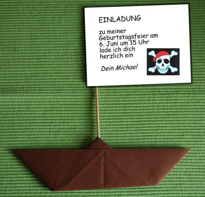 Einladung Piratenschiff - Kinderspiele-Welt.de