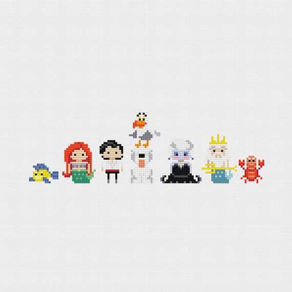 Disney Princess Minis: The Little Mermaid (Flounder, Ariel, Prince Eric, Max, Scuttle with Dinglehopper, Ursula, King Triton, and Sebastian)