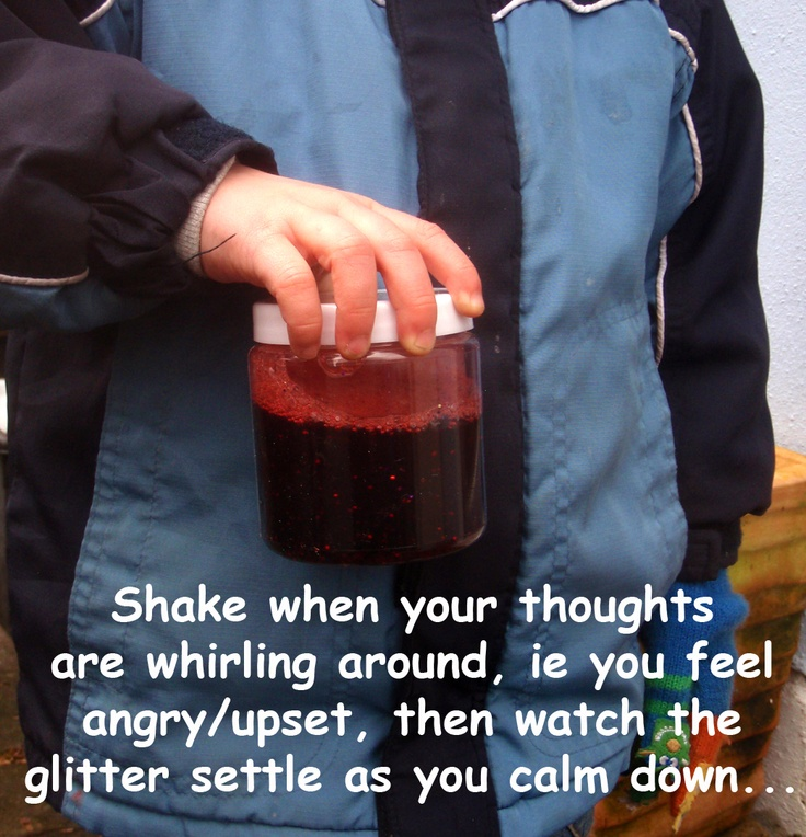 Just seen this anger management tool in action: a simple plastic jar with water, food colouring and glitter! The [3yo] boy felt angry, found his jar, shook it and visibly calmed down as he watched the swirling glitter!
