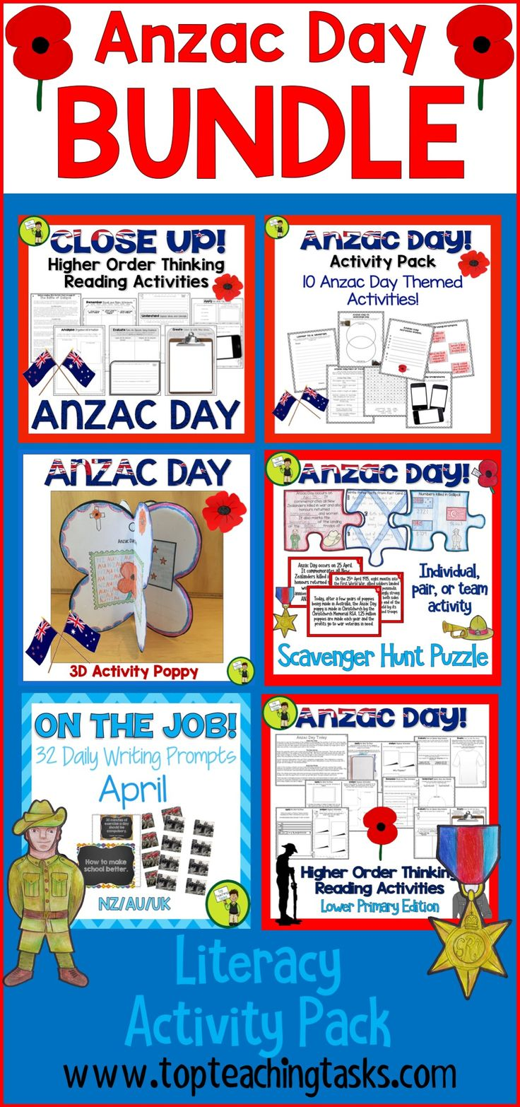 We have a fantastic Anzac Day BUNDLE: a bundle of fantastic Anzac Day literacy resources featuring Reading, Writing, and other activities! Perfect for the NZ (New Zealand) classroom and your guided reading and writing program. #AnzacDay #AnzacDayActivities #AnzacDayWriting #AnzacDayReading #AnzacDayforKids #AnzacDayforChildren