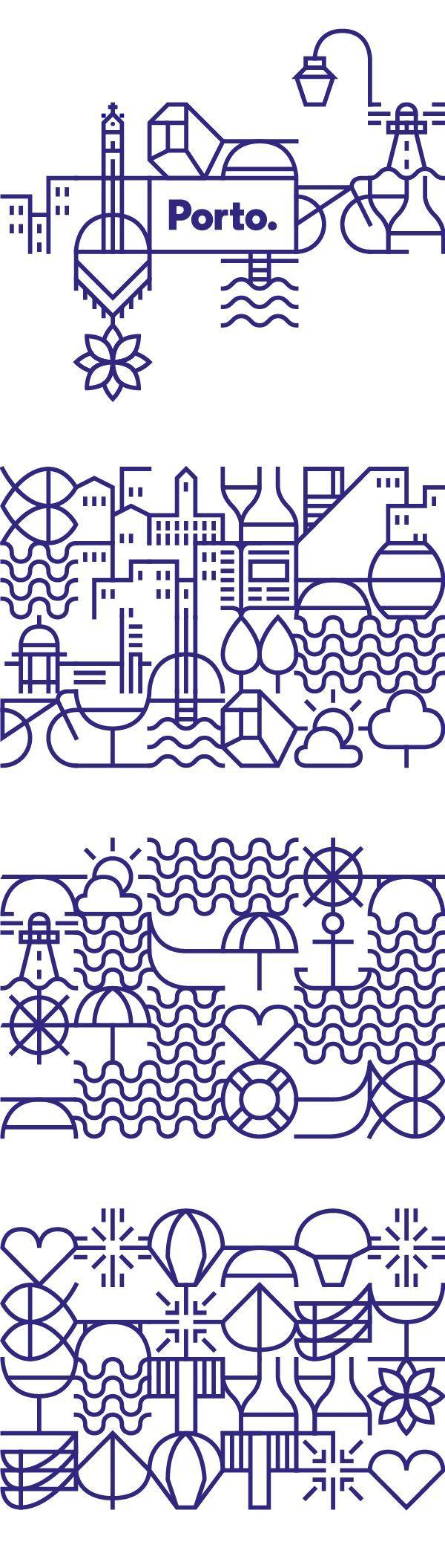 New identity for the city of Porto, Portugal / Branding / Brand Design / Ideas / Inspiration / Line Art / City / Landscapes / Tourism / Modern / Beautiful / Outline / Line / Tiles / City Elements