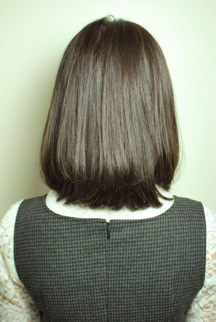 大人可愛いナチュラルなボブディスタイル♪黒髪でツヤと潤いを。毛先ワンカールの簡単スタイリングです。
