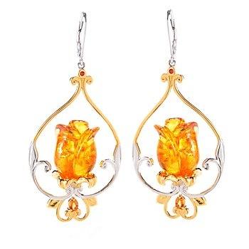 Gems en Vogue II Carved Amber, Madeira Citrine & Orange Sapphire Tulip Earrings