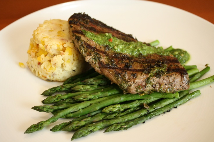 Reserve Run Sirloin- Chimichurri marinated local beef with sweet corn pudding and grilled asparagus