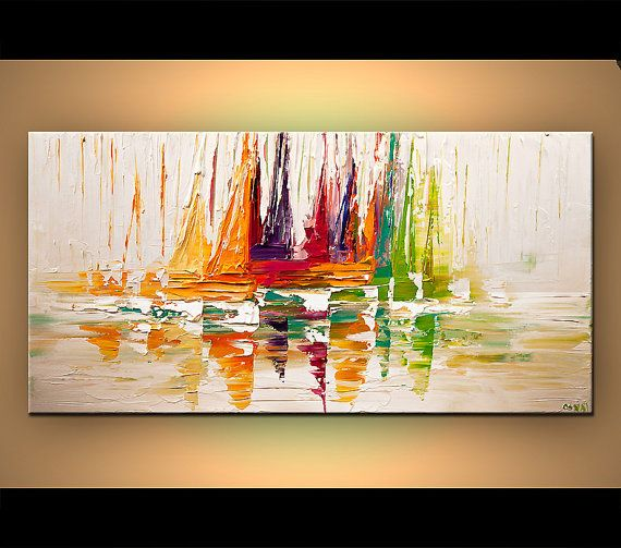 Modern Sailboats Print on Canvas Embellished The von OsnatFineArt