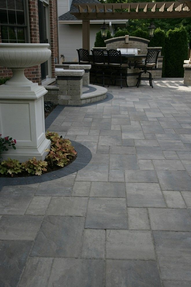 Incredible unilock pavers decorating ideas for patio for Large patio design ideas