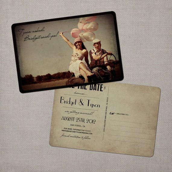 Vintage Save the Date Postcards: Vintage Postcards, Save The Date Ideas, Posts Cards, Vintage Photos, Dates, Vintage Save, Nostalg Imprint, Postcards Invitations, 4X6 Vintage