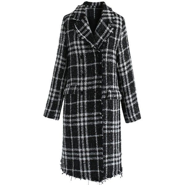 Chicwish Chic in The City Plaid Coat in Black ($74) ❤ liked on Polyvore featuring black, plaid coat, tartan coat, plaid trench coat and trench coats