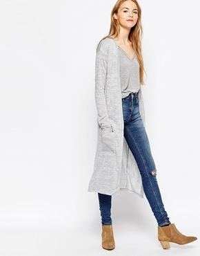 Vila Long Lined Cardigan With Front Pockets