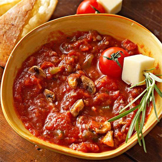 Italian bread makes a delicious dipper for this Supreme Pizza Fondue. #Recipe: www.bhg.com/recipe/appetizers-snacks/supreme-pizza-fondue/?socsrc=bhgpin091812supremepizzafondue