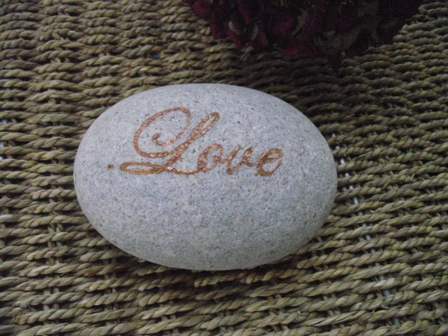 Hand painted Love stone paperweight £7.50