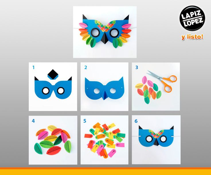 ¡Una máscara única y colorida! Sigue el paso a paso y podrás crear un increíble antifaz. Encuentra todos los materiales en Lápiz López.
