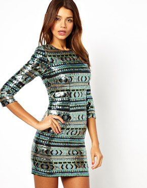 TFNC Bodycon Mini Dress with Aztec Sequins. This is stunning