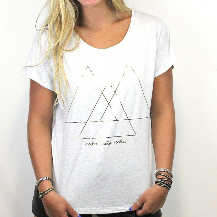 Delta Delta Delta Metallic Slouchy Sorority T-Shirt - triangle design http://www.dormify.com/greek/delta-delta-delta/delta-delta-delta-metallic-slouchy-sorority-t-shirt
