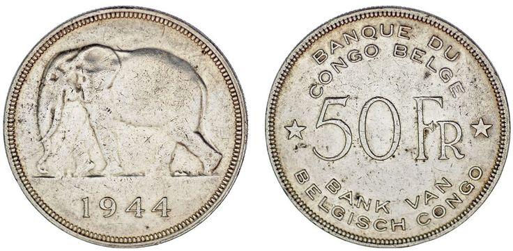 50 FRANCS BELGIAN CONGO - 50 FRANCOS CONGO BELGA. ELEPHANT. 1944. VF+/MBC+.