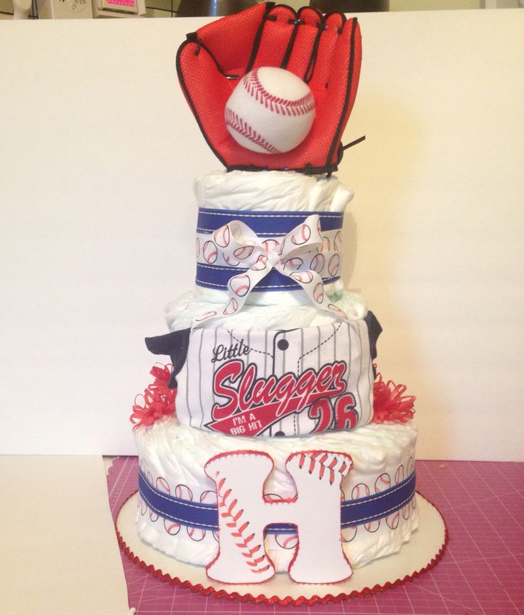 Diaper cake baseball theme