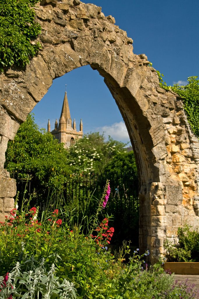 Evesham Abbey Precincts | Monastic remains and St. Lawrence's tower. This arch was the entrance to the chapter house from the cloisters, and forms part of the boundary to the present-day allotments!  Evesham, Worcestershire.