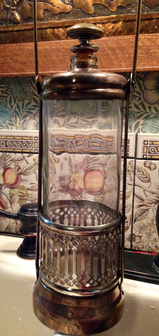 From Vintage Soda Fountain Metal And Glass Container For
