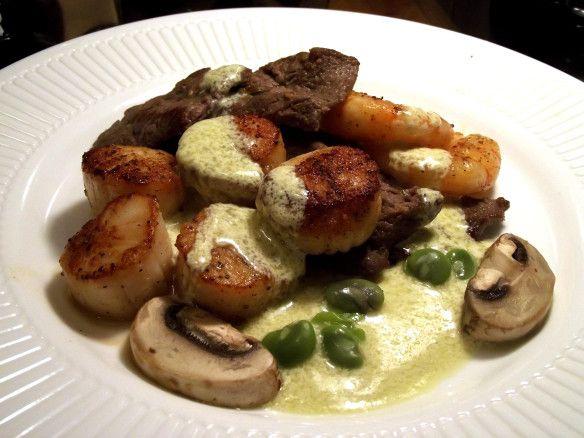 Seared Scallops, Seared Sirloin with Fava Bean & Mushroom Aioli ...