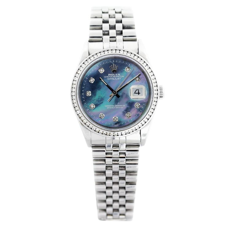 Rolex Datejust 16220 Tahitian Mother of Pearl Dial Mens Watch Company Rolex Model Datejust Item # 16220 Case Material Stainless Steel Case Diameter 36 mm Bezel Aftermarket Diamond Bezel Bracelet St…