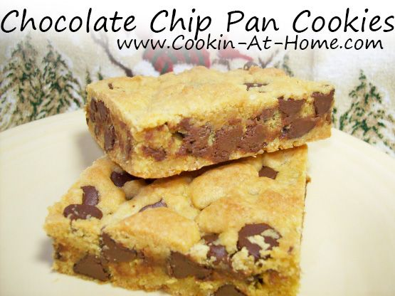 Cooking at Home: Chocolate Chip Pan Cookies super easy boxed cake mix cookies