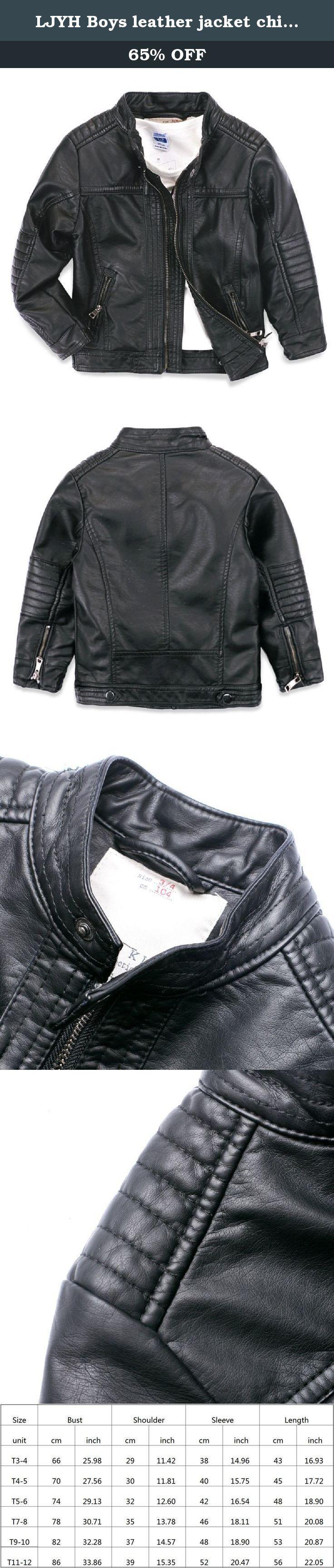 LJYH Boys leather jacket children's motorcycle leather zipper coat black 3-14T Black T5-6. child leather coat.