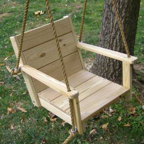 Wood Swings Co. Engravable Wooden Rope Adult Swing Chair