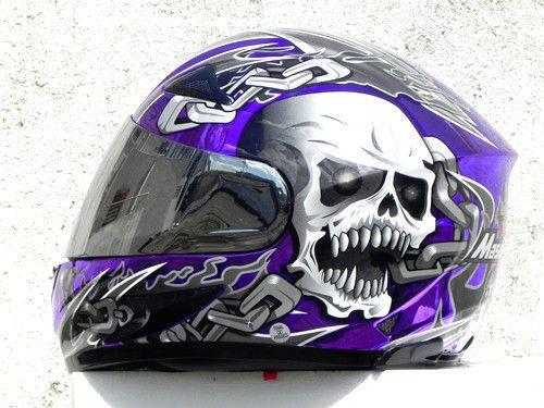 MASEI 816 DOT MOTORCYCLE HELMET CHROME PURPLE SKULL M L XL