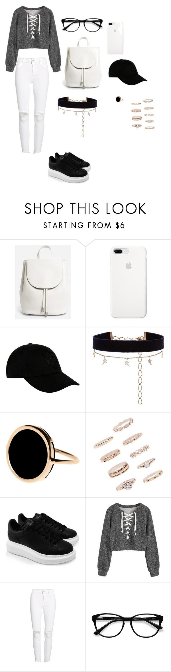 """""""Casual day outfit"""" by nanamakk ❤ liked on Polyvore featuring Everlane, STONE ISLAND, Diane Kordas, Ginette NY, Forever 21, Alexander McQueen, DL1961 Premium Denim and EyeBuyDirect.com"""